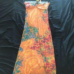 Multi colored halter maxi dress